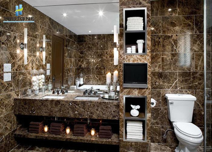Đá marble nâu cafe làm bàn lavabo