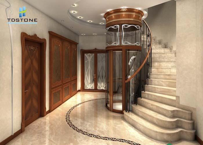 cầu thang đá marble nâu nhạt