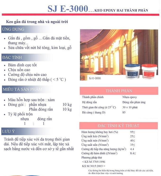Công dụng và đặc tính keo dán đá SJE 3000